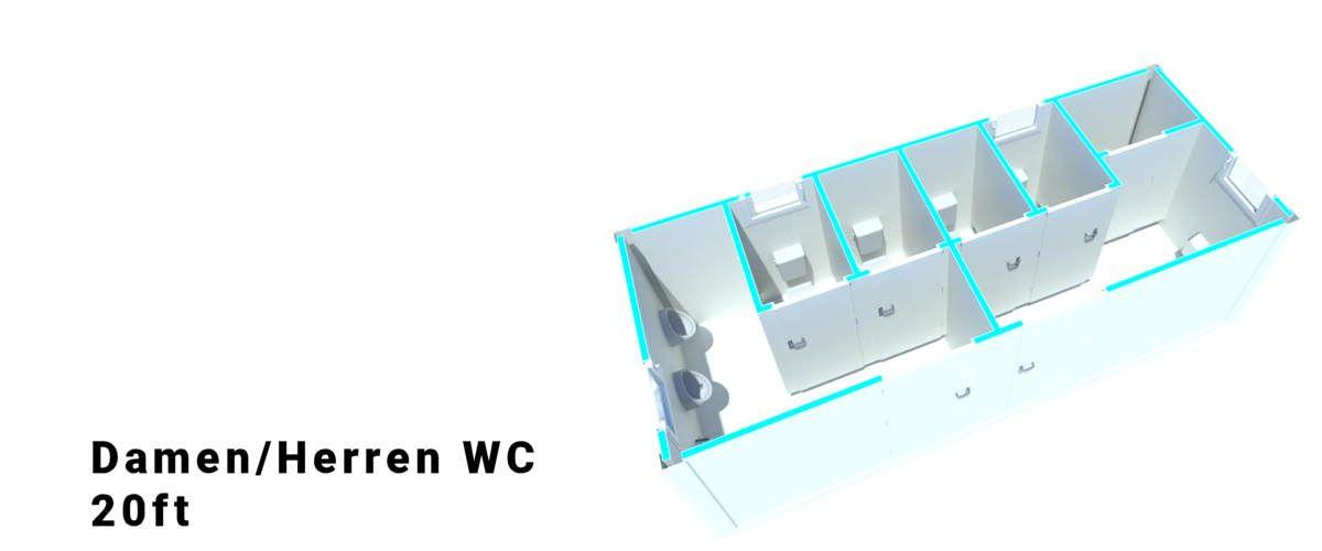 Algeco 20ft Damen/Herren WC Container