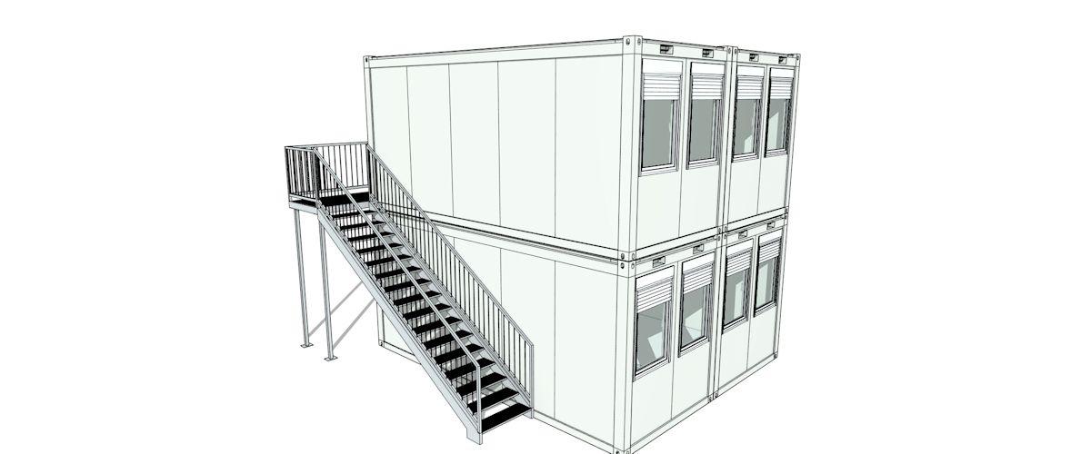 Doppelanlage zweigeschossig Algeco